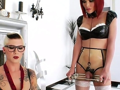 Short haired tall tattooed whorish shemale Danni Daniels with fake tits and provocative glasses enjoys fingering ass of her petite redhead tranny friend Eva Lin in stockings.
