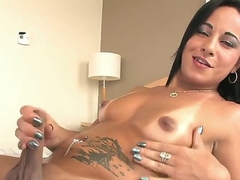 Sexdoll Thabata Piurany and her tasty dick. This brunette has a cock which she touches with pleasure, making herself really warm and wet, she plays with the balls ending passionately.