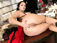 Liza Del Sierra with giant jugs strips and plays with herself for your viewing entertainment