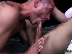 Gay guy getting spit-roasted by a couple of dickgirls from Italy