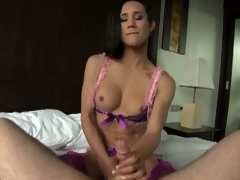 Gorgeous shemale plays with her hard cock