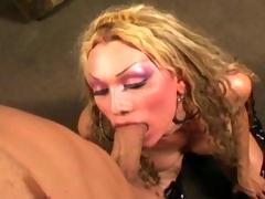 Hot blonde t-girl fucked hard