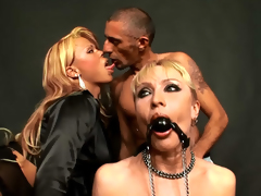 Amazing golden-haired getting drilled by shemale and guy