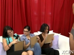 Three brown femdom bitches play with a submissive dude